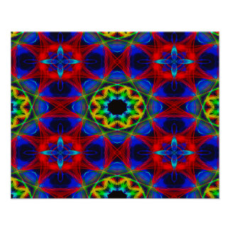 Abstract Pattern Blue Green And Red Background Poster