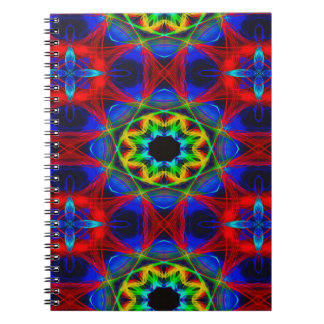 Abstract Pattern Blue Green And Red Background Spiral Notebook