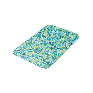 Abstract Pattern Blue & Green Contour  Background Bath Mat