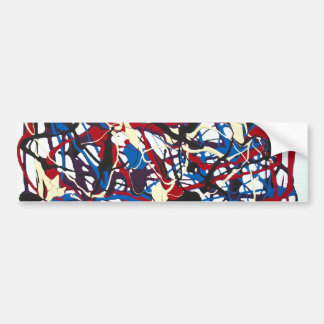 Abstract pattern blue, red, black, white. Modern. Bumper Sticker