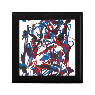 Abstract pattern blue, red, black, white. Modern. Small Square Gift Box