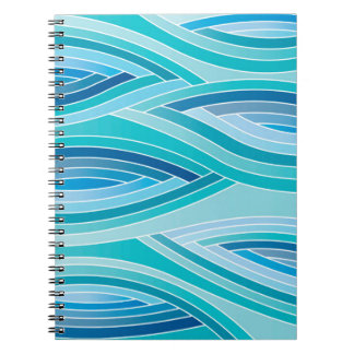 Abstract Pattern Blue Waves Background Notebooks
