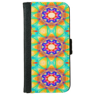 Abstract Pattern Blue White And Red Background iPhone 6 Wallet Case