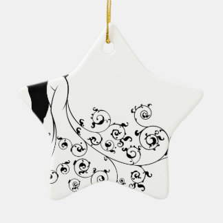 Abstract Pattern Bride and Groom Wedding Silhouett Ceramic Star Decoration