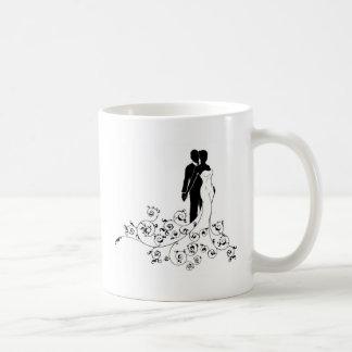 Abstract Pattern Bride and Groom Wedding Silhouett Coffee Mug