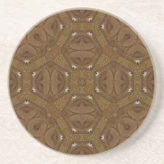 Abstract Pattern Brown Beverage Coaster