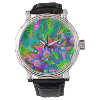 Abstract Pattern Colorful Floral Watch