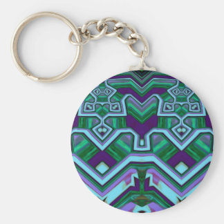 Abstract Pattern Colorful Orange And Blue Design Key Ring