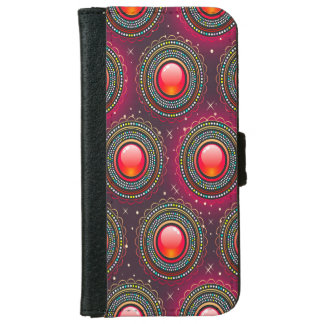 Abstract Pattern Concentric Circles Purple And Pin iPhone 6 Wallet Case