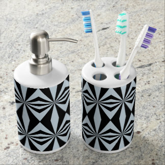 Abstract pattern design soap dispenser and toothbrush holder