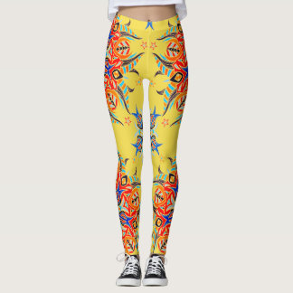 Abstract Pattern Design ( Yellow ) Leggings