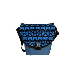 Abstract Pattern Dividers 02 Blue over Black Commuter Bags