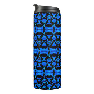 Abstract Pattern Dividers 02 Blue over Black Thermal Tumbler
