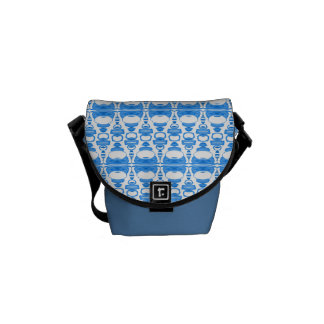 Abstract Pattern Dividers 02 Blue over White Commuter Bag