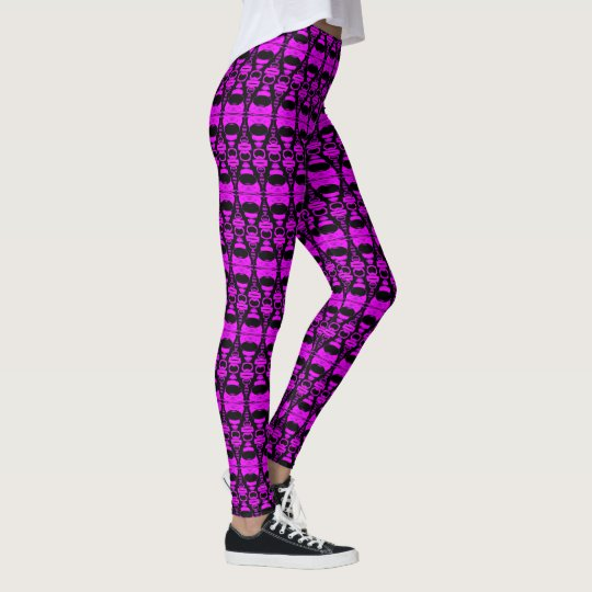 Abstract Pattern Dividers 02 in Purple over Black Leggings