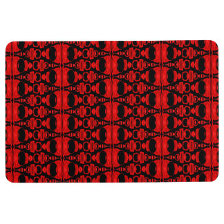 Abstract Pattern Dividers 02 Red Black Floor Mat