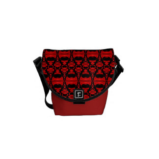 Abstract Pattern Dividers 02 Red Black Messenger Bag