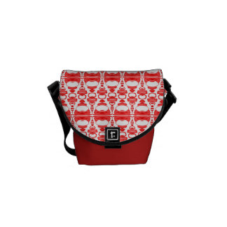 Abstract Pattern Dividers 02 Red over White Messenger Bag