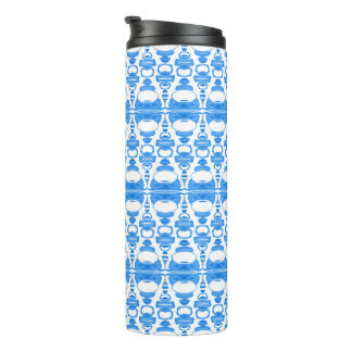 Abstract Pattern Dividers 02 Sky Blue over White Thermal Tumbler