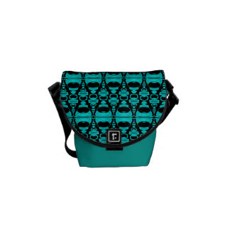 Abstract Pattern Dividers 02 Turquoise Black Commuter Bags