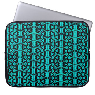 Abstract Pattern Dividers 02 Turquoise Black Laptop Sleeve