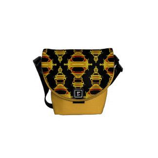 Abstract Pattern Dividers 03 Golden Brown Black Messenger Bags