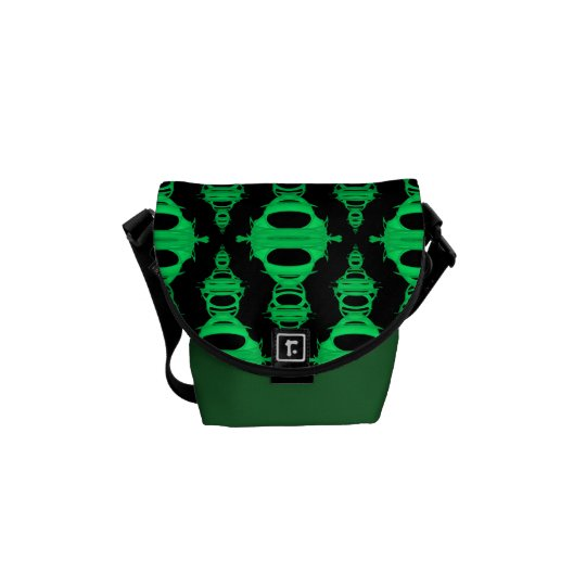 Abstract Pattern Dividers 03 Green Black Messenger Bag