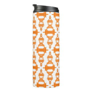 Abstract Pattern Dividers 03 Orange Custom White Thermal Tumbler