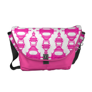 Abstract Pattern Dividers 03 Pink Custom White Messenger Bags