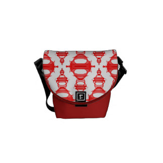 Abstract Pattern Dividers 03 Red Custom White Commuter Bags
