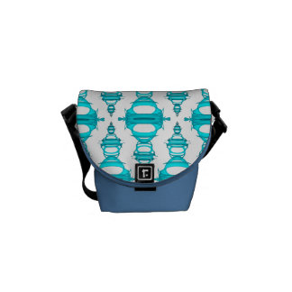 Abstract Pattern Dividers 03 Teal Custom White Messenger Bag