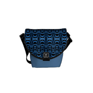 Abstract Pattern Dividers 07 Blue over Black Commuter Bag