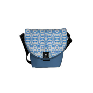 Abstract Pattern Dividers 07 Blue over White Commuter Bags