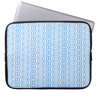 Abstract Pattern Dividers 07 Blue over White Laptop Sleeve
