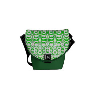 Abstract Pattern Dividers 07 Green and White Courier Bag