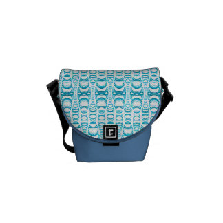 Abstract Pattern Dividers 07 in Turquoise White Commuter Bags
