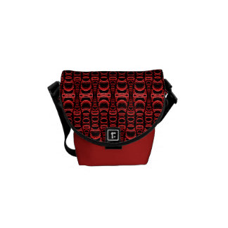 Abstract Pattern Dividers 07 Red Black Messenger Bags