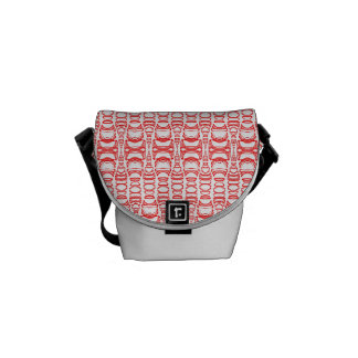 Abstract Pattern Dividers 07 Red over White Commuter Bags