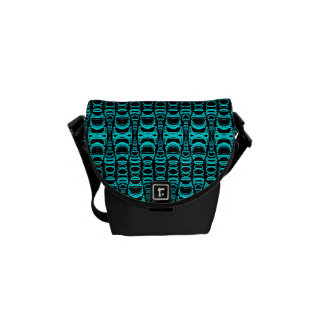 Abstract Pattern Dividers 07 Turquoise Black Messenger Bags