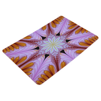 Abstract Pattern Floral Star Purple And Brown Floor Mat