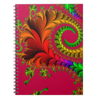 Abstract Pattern Fractal Red And Green Notebook