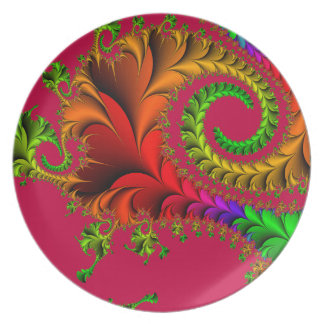 Abstract Pattern Fractal Red And Green Plate