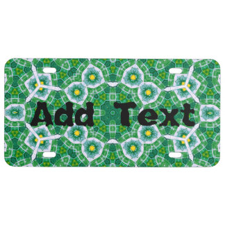 Abstract Pattern Green blue License Plate