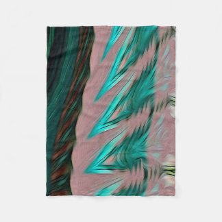 Abstract Pattern Green Brown And Grey Fleece Blanket