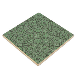Abstract Pattern green Wood Coaster