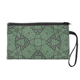 Abstract Pattern Green Wristlet Clutches