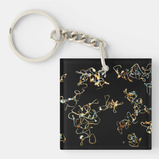 Abstract Pattern in Black and Gold Color Keychain