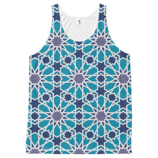 Abstract Pattern In Blue And Grey All-Over Print Tank Top