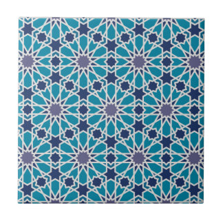 Abstract Pattern In Blue And Grey Small Square Tile