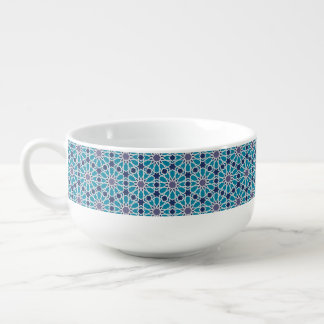 Abstract Pattern In Blue And Grey Soup Mug